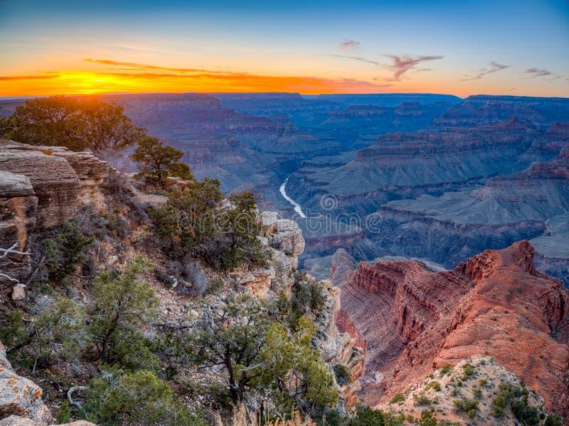 Заход солнца гранд-каньона стоковая фотография rf