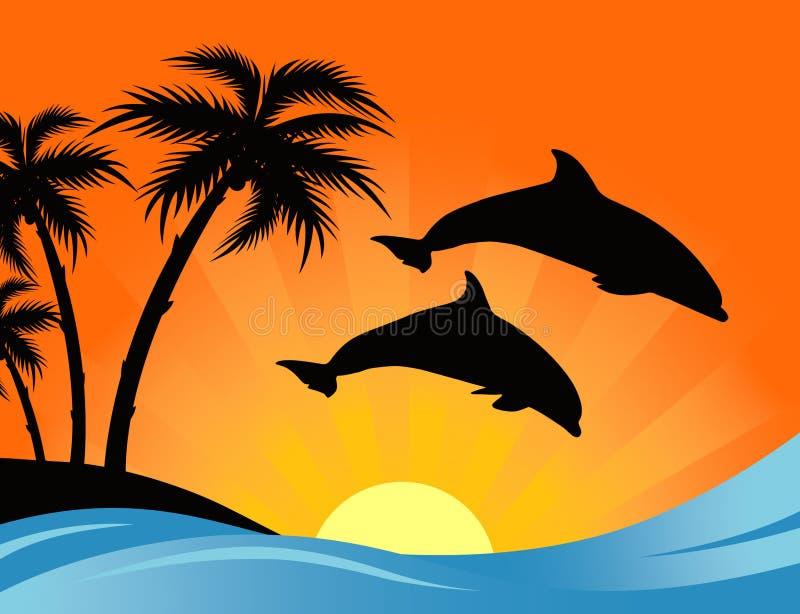 заход солнца дельфина иллюстрация вектора