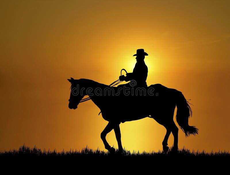 заход солнца езды 2 лошадей иллюстрация вектора
