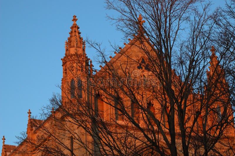 заход солнца здания стоковое фото