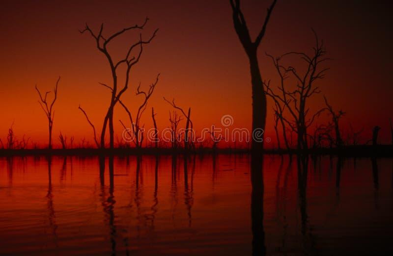 заход солнца Зимбабве озера kariba стоковые фотографии rf