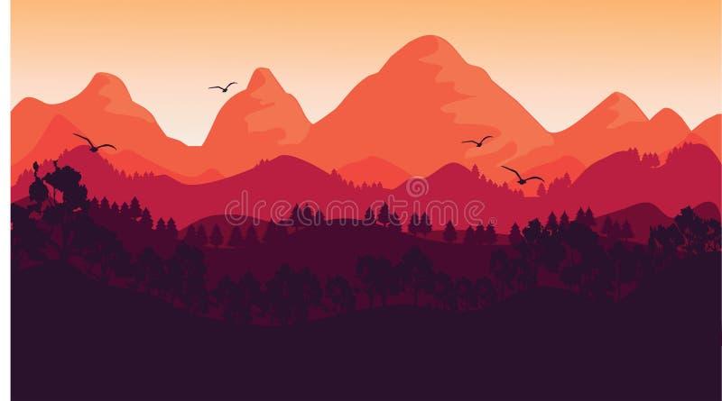 Заход солнца и ландшафт иллюстрация штока