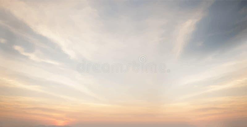 Заход солнца и пасмурные обои голубого неба стоковое фото rf
