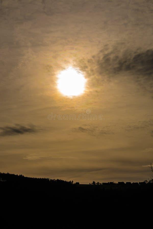 Заход солнца и темный лес стоковое изображение rf