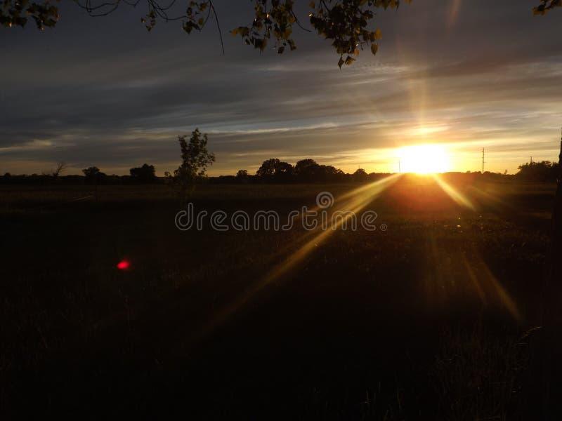 Заход солнца Канзаса стоковая фотография