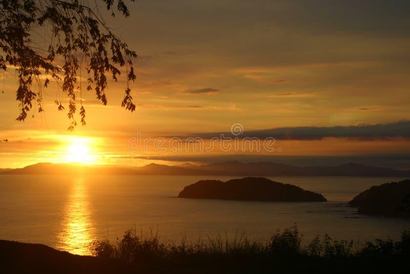 заход солнца Косты rican стоковое фото rf