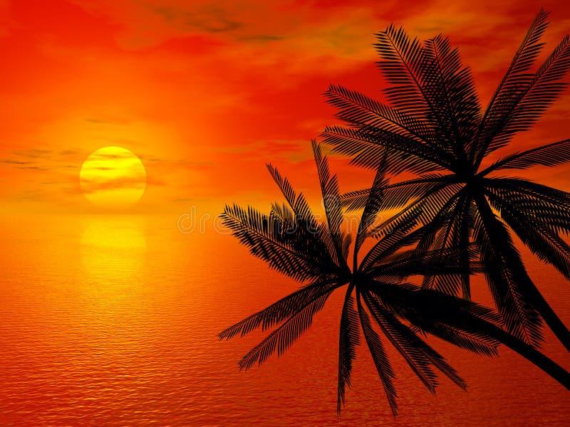 заход солнца красного цвета ладони бесплатная иллюстрация