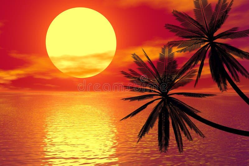 заход солнца красного цвета ладони иллюстрация штока