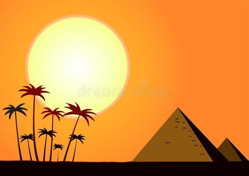 Заход солнца лета с пирамидами иллюстрация вектора