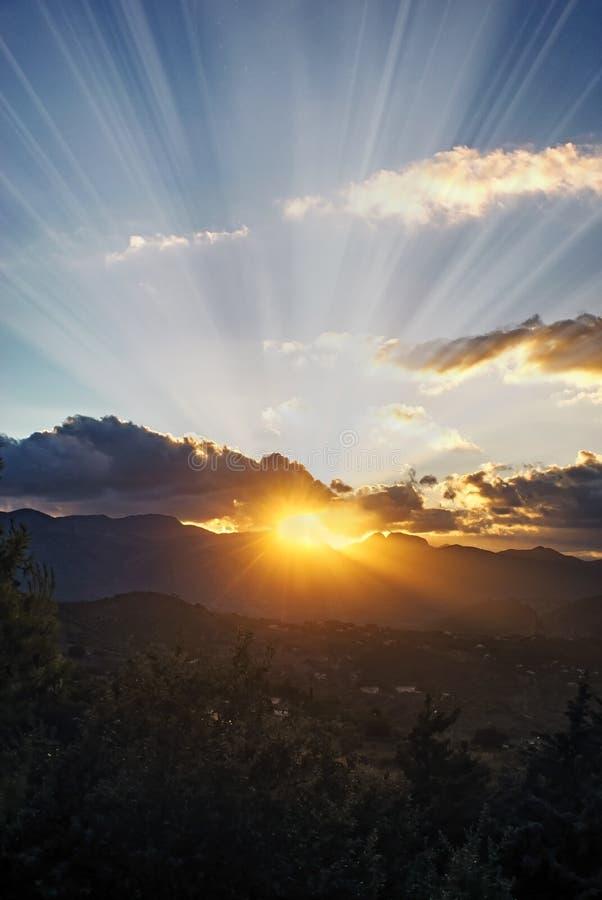 Заход солнца летом стоковая фотография rf