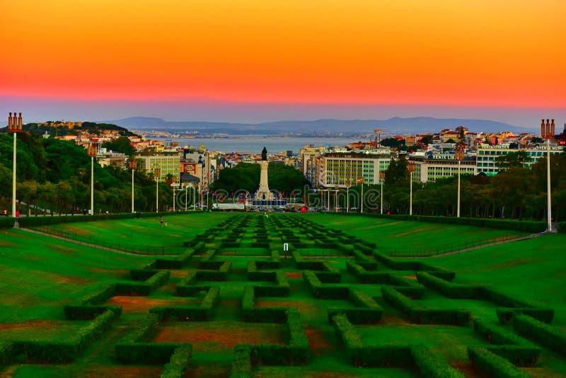 Заход солнца Лиссабона стоковая фотография rf
