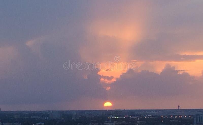 Заход солнца Майами стоковая фотография