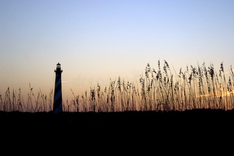 заход солнца маяка hatteras плащи-накидк стоковая фотография rf