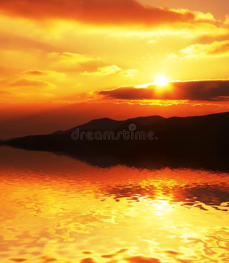 заход солнца места стоковое изображение rf