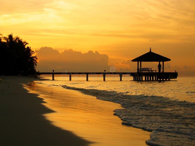 заход солнца молы стоковая фотография rf