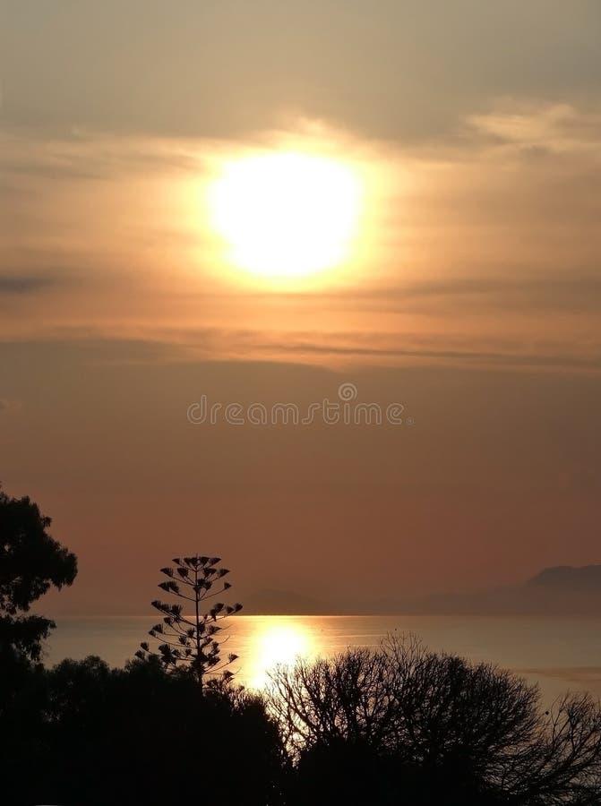 Заход солнца моря в Родосе стоковое фото rf
