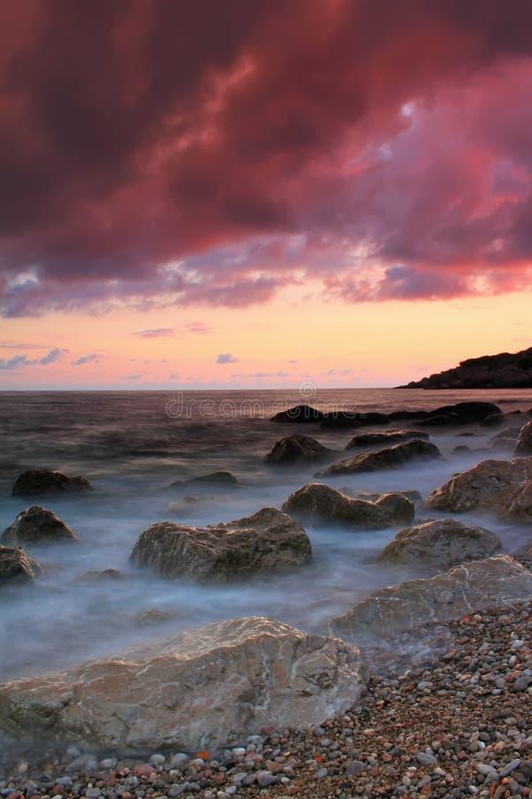 заход солнца моря тропический стоковое фото