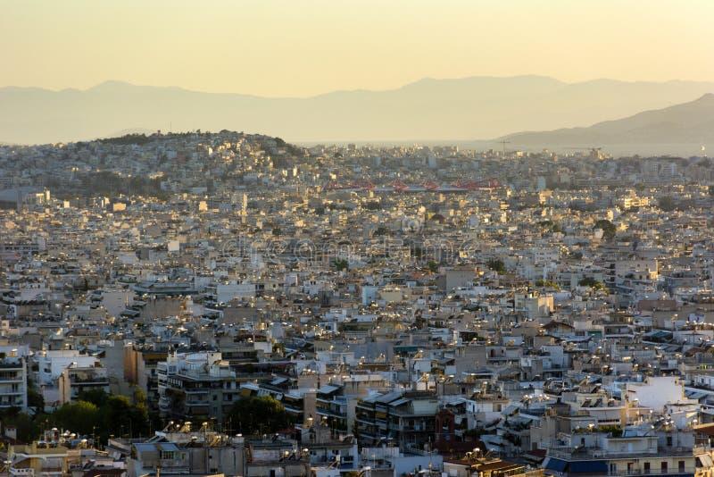Заход солнца над городом, Афины, Греция стоковое изображение rf
