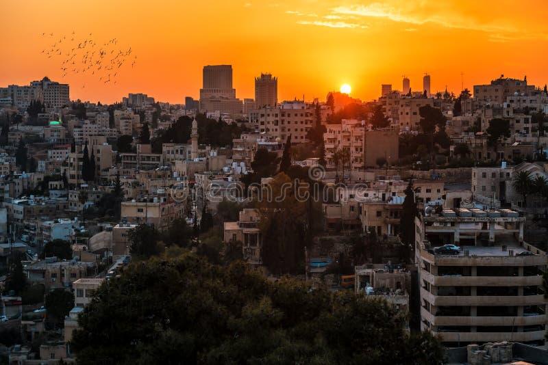 Заход солнца над городом стоковая фотография rf