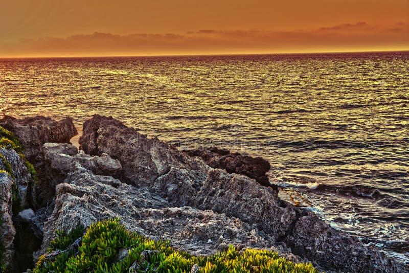 Заход солнца над Кипром стоковая фотография rf