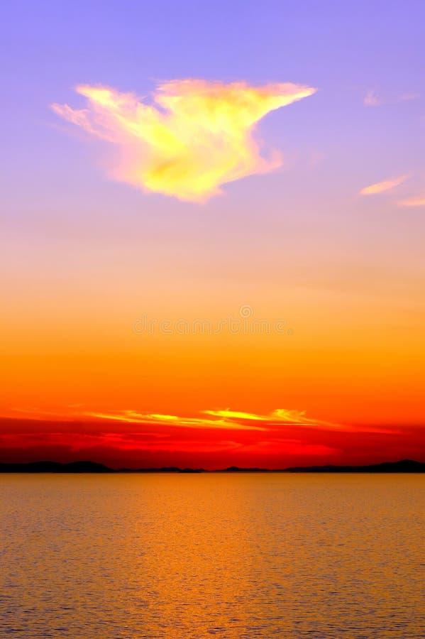 Заход солнца над морем. стоковое изображение rf