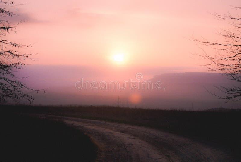 Заход солнца над проселочной дорогой и в пинках стоковая фотография rf