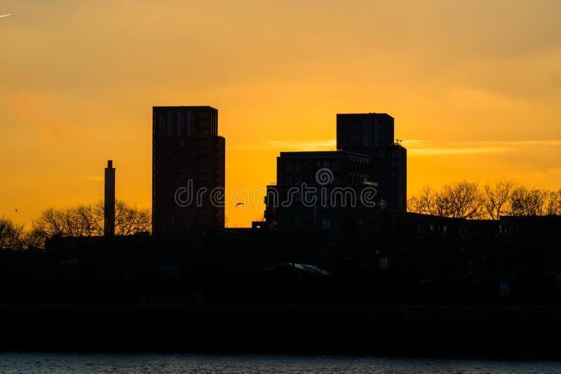 Заход солнца на городе Лондона стоковая фотография rf