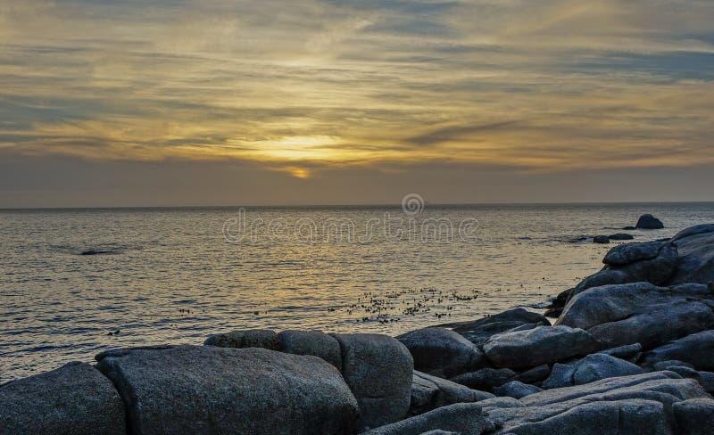 Заход солнца на заливе лагерей стоковое фото