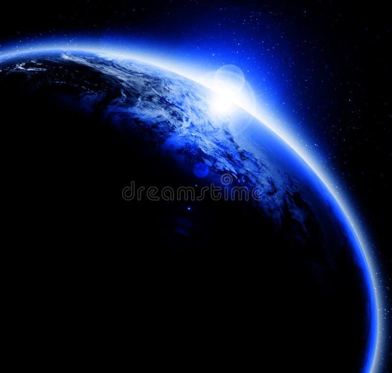 Заход солнца на земле планеты иллюстрация штока