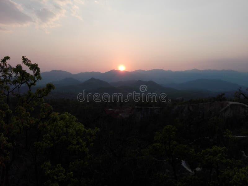 Заход солнца на каньоне Таиланде Pai стоковое изображение