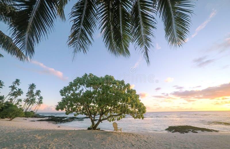 Заход солнца на красивом пустом тропическом пляже с deckchair и ладонью стоковая фотография rf