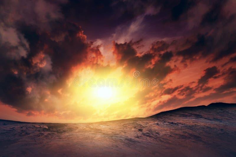 заход солнца на Марсе красные другие планета стоковые фотографии rf