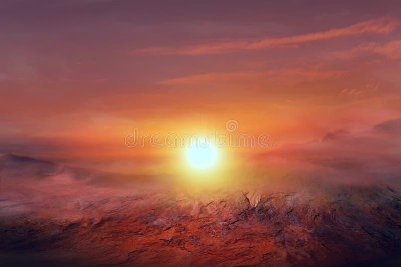 Заход солнца на Марсе красные другие планета стоковые фото