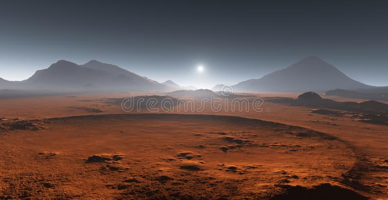 Заход солнца на Марсе Марсианский ландшафт бесплатная иллюстрация