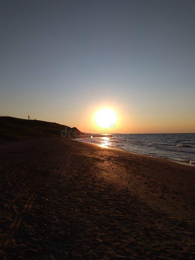 Заход солнца на море Азова стоковые фотографии rf