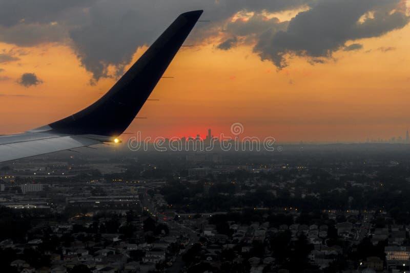 Заход солнца на Нью-Йорке стоковое изображение rf
