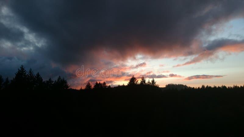 Заход солнца на облаках стоковое фото rf
