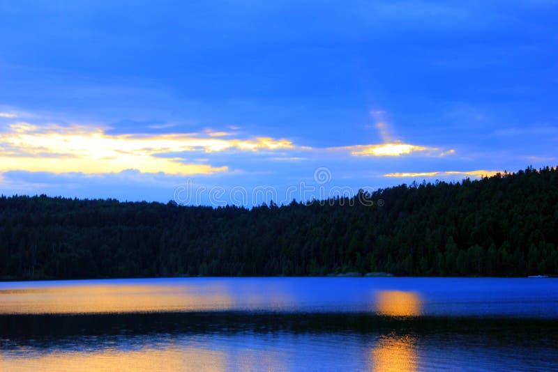 Заход солнца на озере percee pierre стоковые изображения