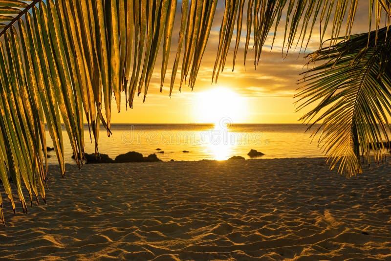 Заход солнца на пляже на острове Маврикия стоковая фотография