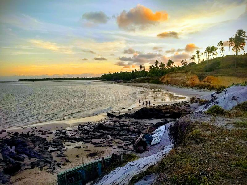 Заход солнца на пляже Guadalupe стоковое фото rf