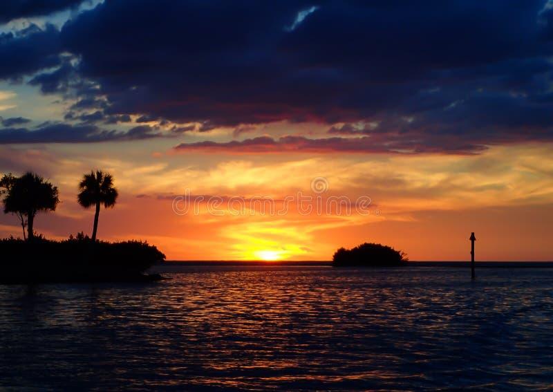 Заход солнца на побережье мексиканского залива Флориды стоковое фото