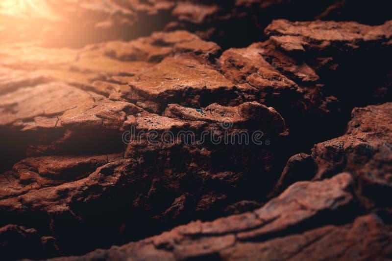 Заход солнца на повреждает облегченную скалистую поверхность стоковое изображение rf