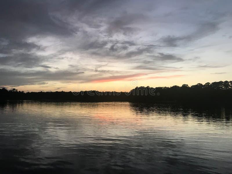Заход солнца на реке Алабаме птицы стоковые фотографии rf