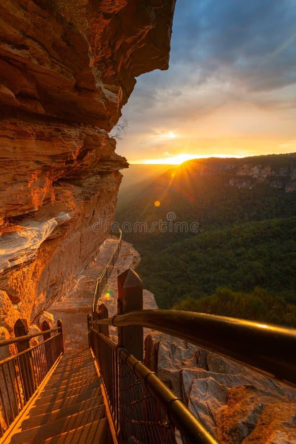 Заход солнца на скалах национального пропуска стоковое изображение rf