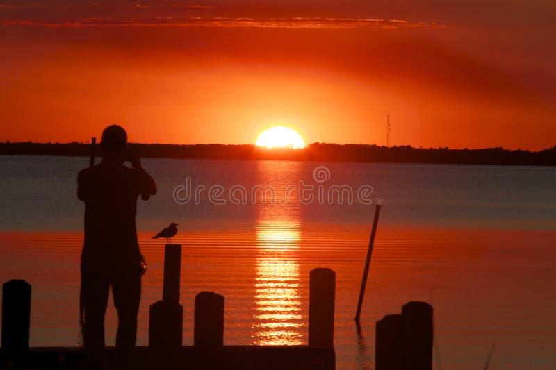 Заход солнца на стыковке стоковая фотография