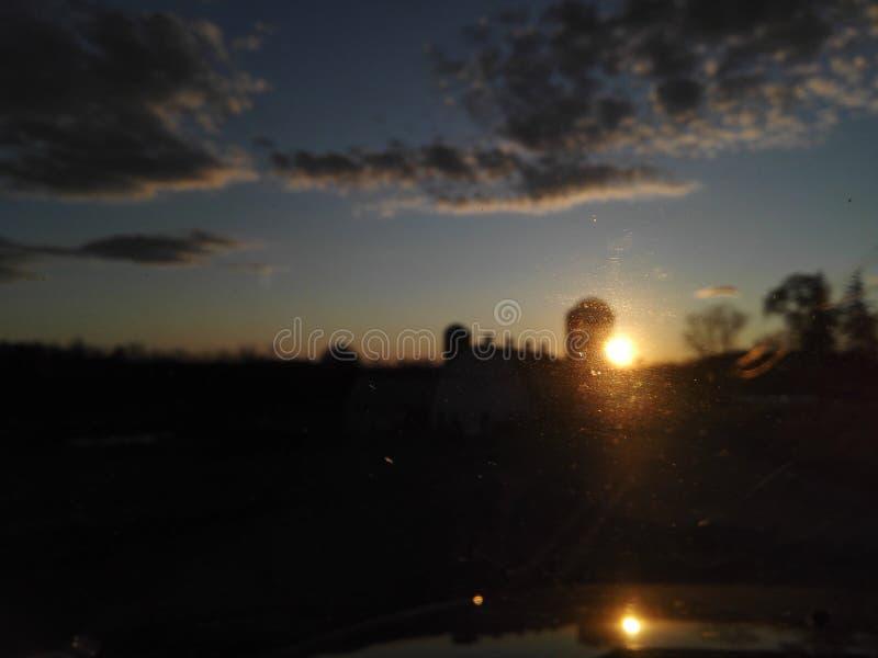 Заход солнца на ферме Пенсильвании стоковое фото rf