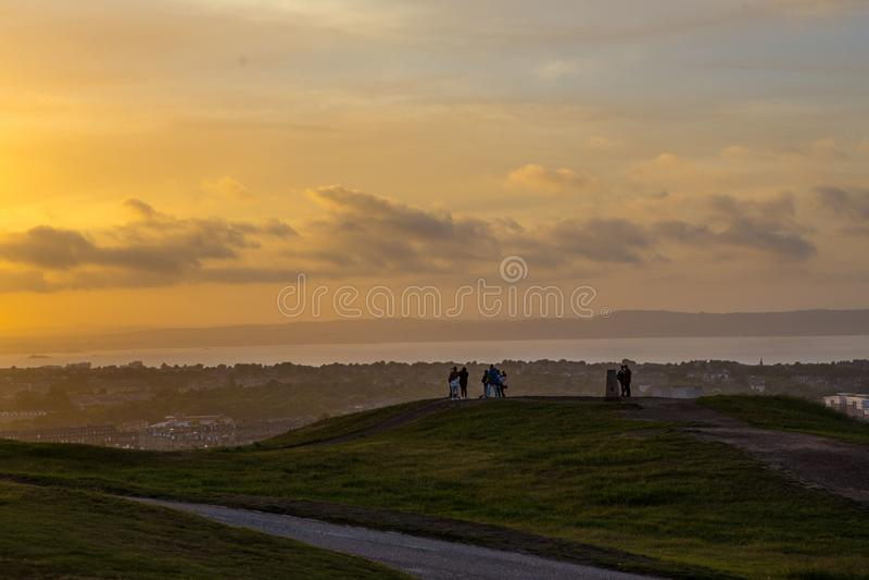 Заход солнца на Эдинбурге стоковые фотографии rf
