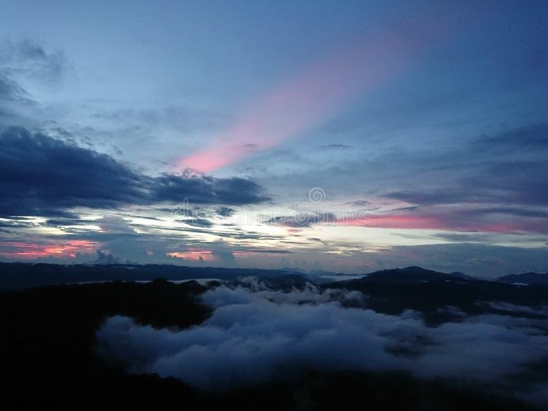 Заход солнца на Doi Luang Tak стоковая фотография rf
