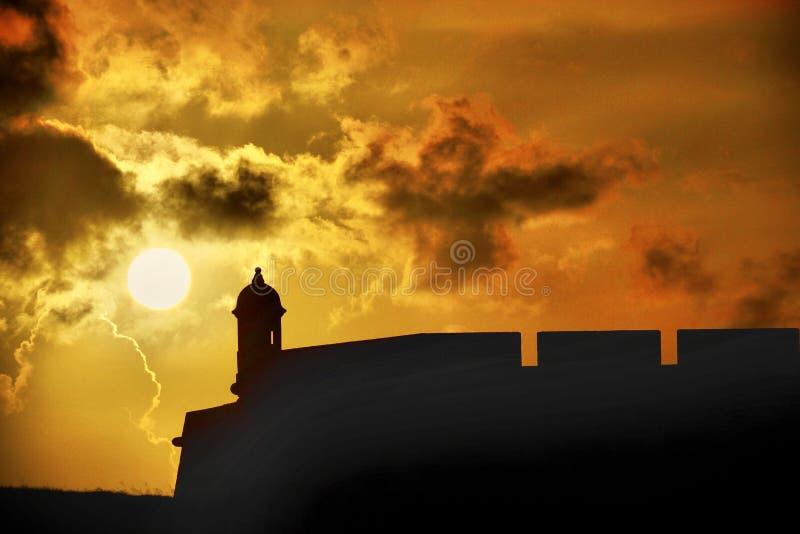 Заход солнца на El Morro в Сан-Хуане Пуэрто-Рико стоковые фото