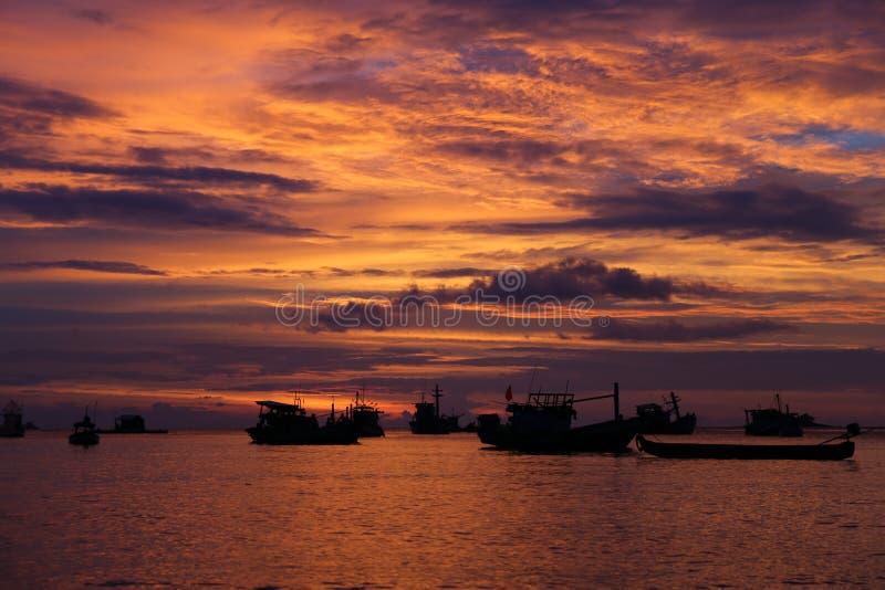 Заход солнца на Ganh Dau, Phu Quoc стоковая фотография
